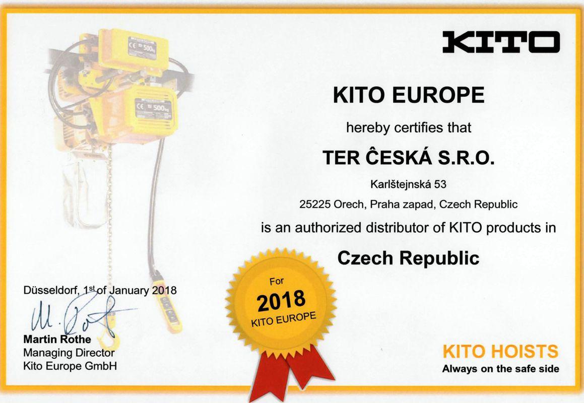 TER ČESKÁ - certifikát výhradního zástupce KITO v ČR